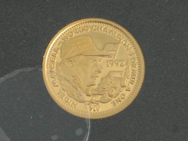 "20 Dollars Republik of Liberia ""Nigel Mansell"" 1992, 1,24 Gramm 999,9 Gold"