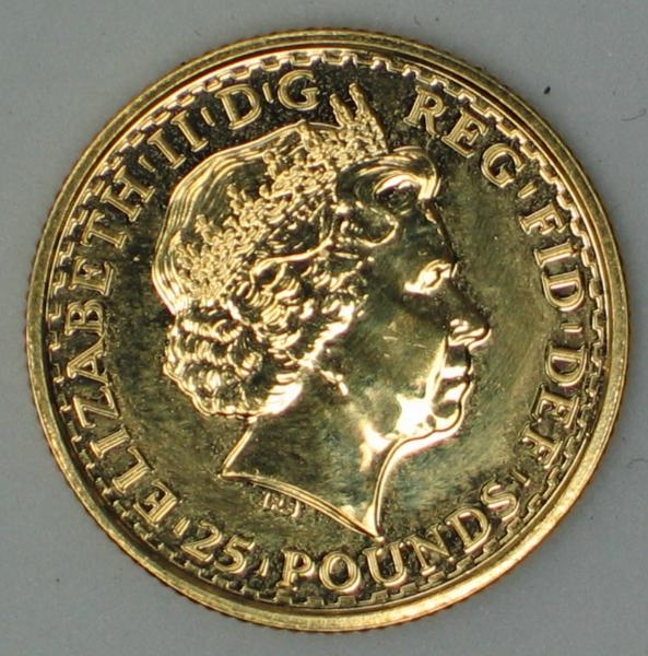 "25 Pounds Britannia ""Quarter Ounce"" Fine Gold, 2007"